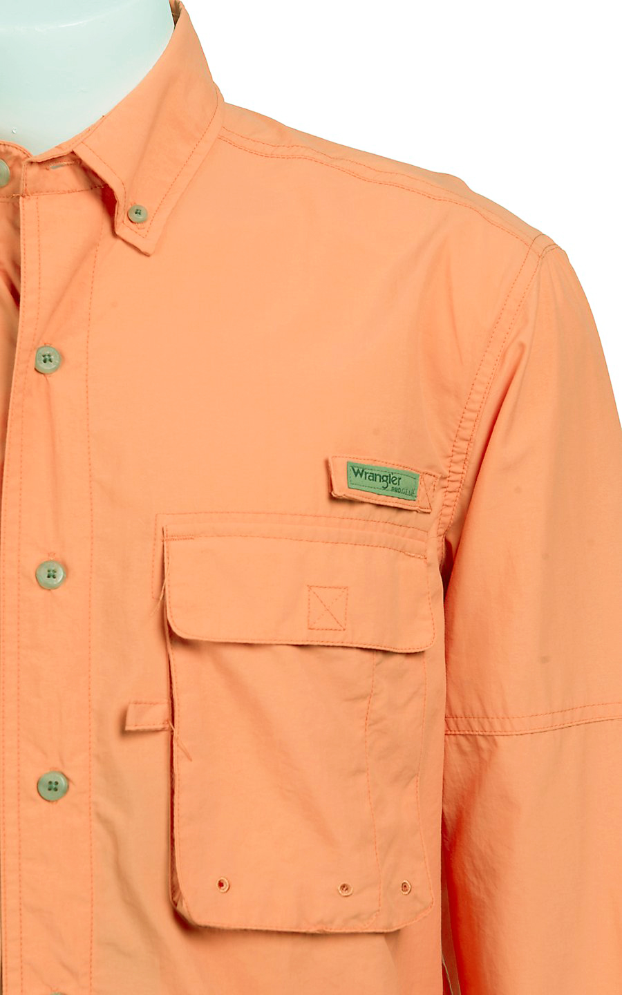 Wrangler Progear® LONG SLEEVE BUTTON DOWN ANGLER SOLID SHIRT